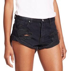 ONE Teaspoon Distressed Black Denim Bandit Shorts